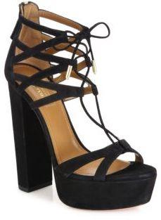 Aquazzura Beverly Hills Plateau Suede Lace-Up Sandals $865 thestylecure.com