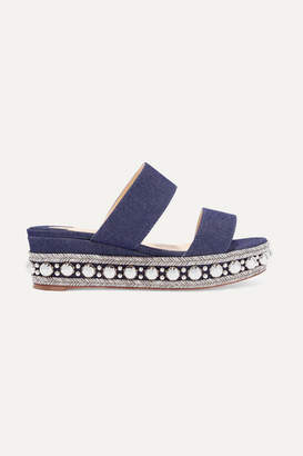 Christian Louboutin Janitag 60 Studded Denim Wedge Slides - Mid denim