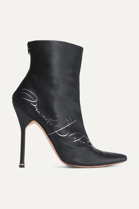 Vetements Manolo Blahnik Printed Satin Ankle Boots - Black