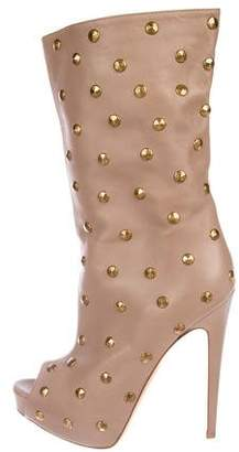 Brian Atwood Studded Leather Peep-Toe Mid-Calf Boots