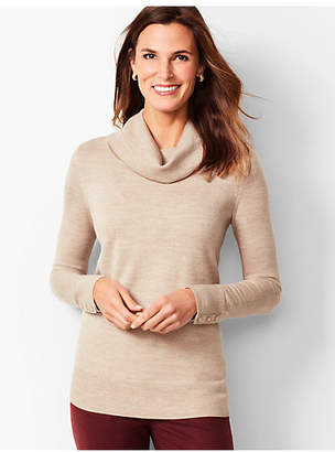 Talbots Merino Button-Cuff Cowlneck Sweater - Gold Shimmer