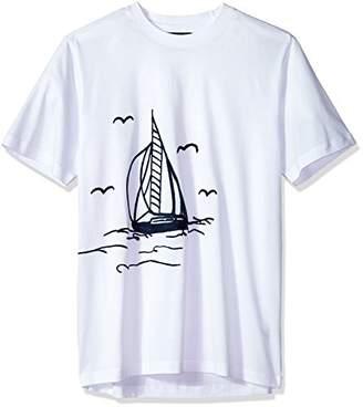 Bugatchi Men's Slim Fit Printed Cotton Crew Neck Shirt