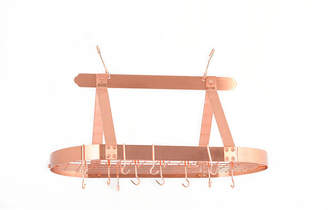 Old Dutch Satin Copper Oval Hanging Pot Rack withGrid and 16 Hooks