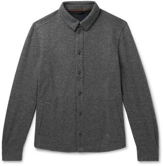 Loro Piana Suede-Trimmed Melange Cashmere-Blend Overshirt - Men - Gray