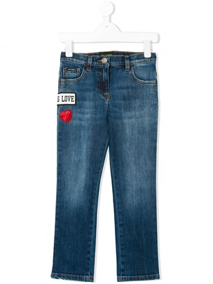 Dolce & Gabbana love patch straight jeans
