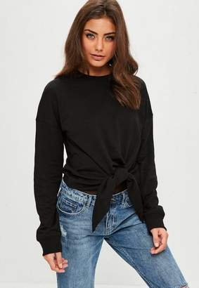 Missguided Black Knot Front Sweatshirt