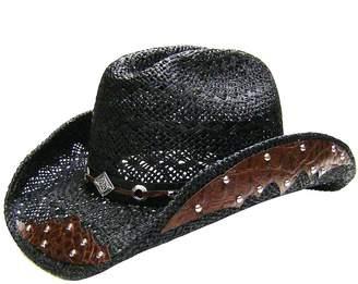 9293053af5483 Modestone Straw Cowboy Hat Breezer Metal Diamond Concho Studs Appliques Brim