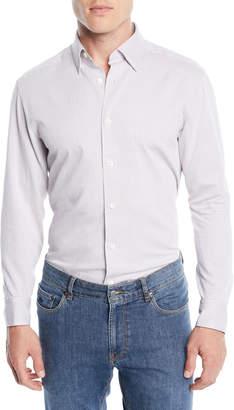Ermenegildo Zegna Men's Square-Print Sport Shirt, Dark Brown