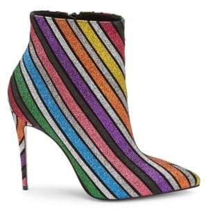Christian Louboutin Women's So Kate 100 Stripe Glitter Suede Ankle Boots - Size 35 (5)