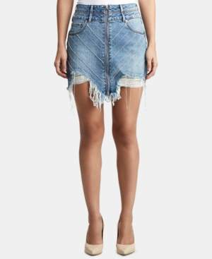 True Religion Rhinestone-Embellished Ripped Skirt