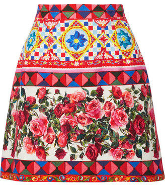 Dolce & Gabbana - Printed Cotton-blend Mini Skirt - Pink $875 thestylecure.com