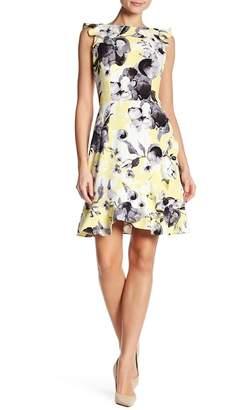 Donna Morgan Flutter Ruffle Sleeve Print Dress