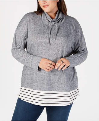 Style&Co. Style & Co Plus Size Funnel-Neck Layered-Look Top