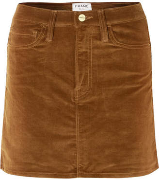 Frame Le Mini Stretch Cotton-blend Corduroy Mini Skirt - Tan