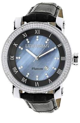 Mother of Pearl Luxurman Phantom 2137 Stainless-Steel Quartz .18ct Diamond Blue Dial Mens Watch