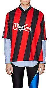 Martine Rose Men's Twisted Logo-Print Striped Jersey-Red