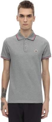 Moncler Logo Patch Cotton Pique Polo Shirt