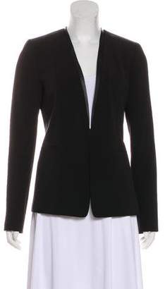 Tahari Faux Leather-Trimmed Structured Blazer