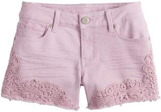 Mudd Girls 7-16 & Plus Size Crochet Jean Shorts