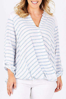 NEW bird keepers Womens Blouses The Stripe Crossover Blouse Bluestripe