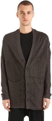Isabel Benenato Reversed Cotton Linen Jacquard Cardigan