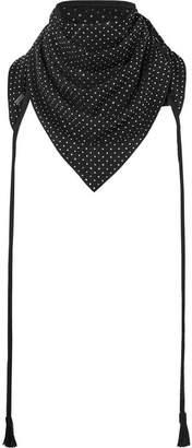 Saint Laurent Tasseled Studded Suede Scarf - Black