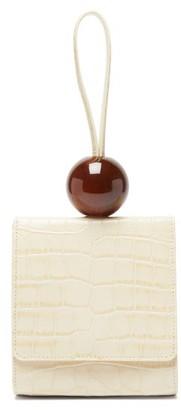 BY FAR Ball Crocodile Effect Leather Clutch - Womens - Ivory