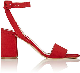 Barneys New York Women's Suede Ankle-Strap Sandals $295 thestylecure.com