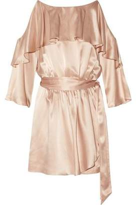 Rachel Zoe Catrina Cold-Shoulder Ruffled Silk-Satin Playsuit
