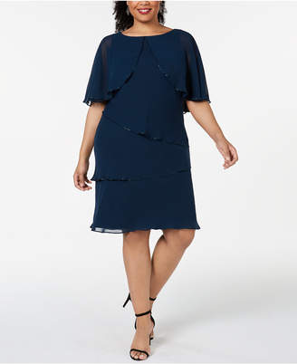 SL Fashions Plus Size Tiered Capelet Dress