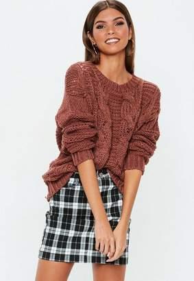 Missguided Rust Knit Boyfriend Sweater