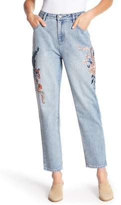 MinkPink Floral Embroidered Boyfriend Jeans