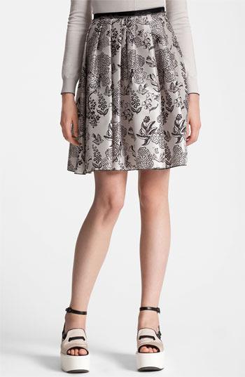 Jil Sander Navy Nature Print Silk Skirt White 12 US / 42 EU