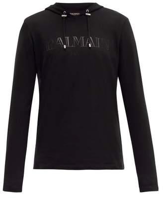Balmain Logo Print Brushed Cotton Jersey Hooded Sweatshirt - Mens - Black