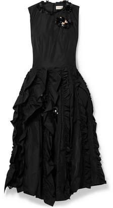 Simone Rocha Moncler Genius - 4 Embellished Ruffled Shell Dress - Black