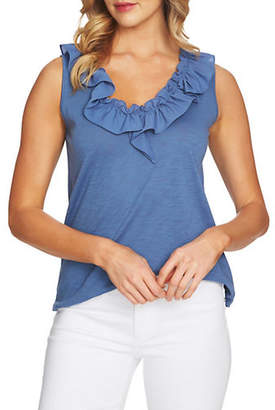 CeCe V-Neck Ruffle Top
