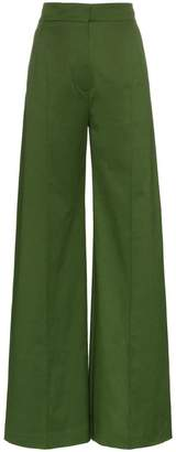 Vika Gazinskaya pleat front cotton flared trousers