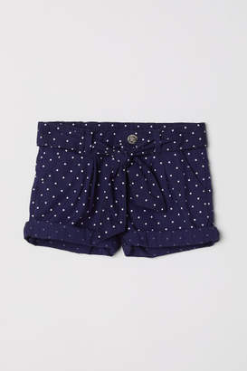 H&M Cotton Shorts with Belt - Blue