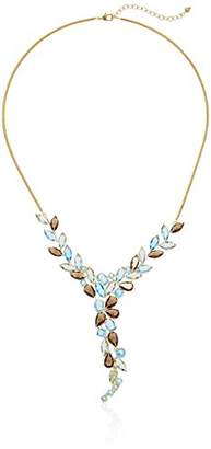 18k Yellow Gold Over Fine Silver Plated Bronze Marquise Cut Colored Glass Vintage Inspired Collar Necklace