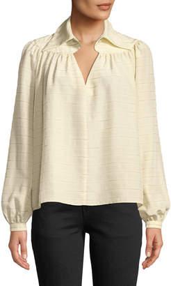 Co Long-Sleeve Diamond-Keyhole Yoked Striped Silk Blouse
