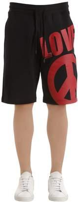 Love Moschino Logo Printed Cotton Sweat Shorts