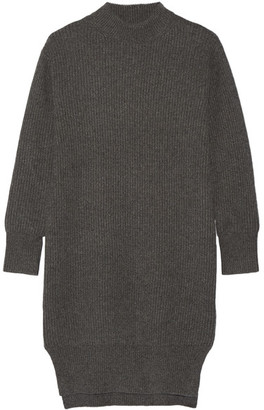 DKNY - Ribbed Cashmere Sweater Dress - Dark gray $698 thestylecure.com