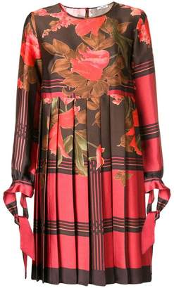 P.A.R.O.S.H. floral pleated shift dress