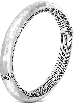 John Hardy Sterling Silver Classic Chain Hammered Medium Oval Hinged Bangle