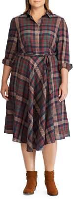 Chaps Plus Plaid Belted Dress