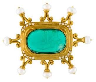 Doris Panos 18K Glass, Pearl & Diamond Brooch