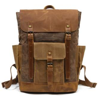 EAZO - Large Waxed Canvas Backpack With Leather Front Pocket In Brown