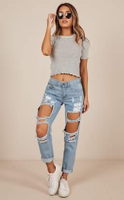 Showpo Django boyfriend jeans in blue denim -6 (XS) Boyfriend Jeans