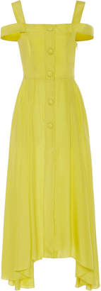 Isa Arfen Positano Cold-Shoulder Silk-Habotai Midi Dress
