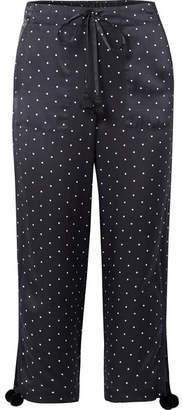 Figue Fiore Polka-dot Silk-satin Wide-leg Pants
